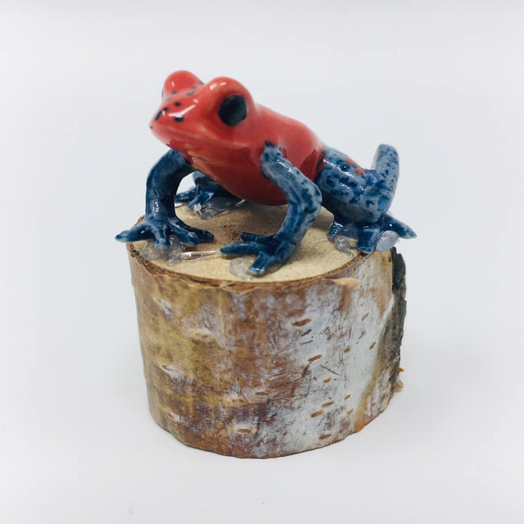 Porcelain Frog Figurine - Oophaga pumilio 'Blue Jeans' or 'Strawberry Dart Frog' (Mounted on a wood stump)