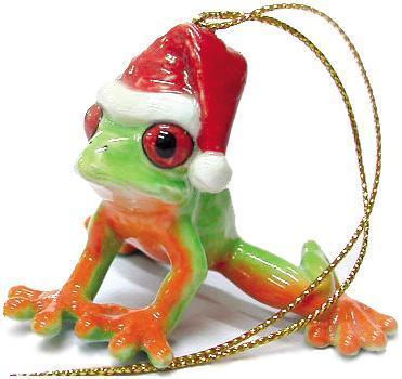 Porcelain Frog Figurine - Agalychnis callidryas 'Red-eyed Tree Frog' Ornament